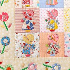 Sunbonnet Sue Quilt **Tapestry** Patchwork Japanese Quilt Fabric Textile COTTON CRAFT Pooh-tan  X