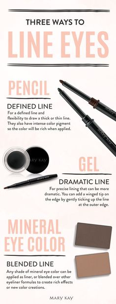Take your makeup look from everyday to dramatic with lined and defined eyes. Thick or thin line, casual or glam: It's all about the eye look you want to express! | Mary Kay