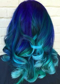 Blue ombre dip dyed hair color