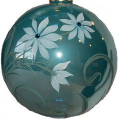Gracefully Embellished Hand Painted Aqua Ornament