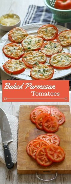 Need a new veggie side to serve with dinner? Try these simple baked tomatoes with a melted parmesan topping! Baked Tomato Recipes, Baked Tomato Slices, Garden Tomato Recipes, Recipes With Fresh Tomatoes, Simple Vegetable Recipes, Veggie Recipes Sides, Healthy Veggie Snacks, Baked Recipes Healthy, Vegtable Snacks