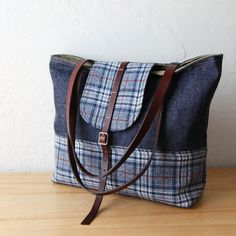 2-Tone Tote in Indigo Denim and Pendleton Wool with Leather Straps