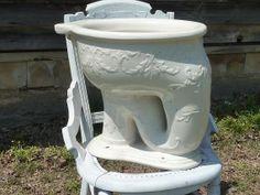 Antique Toilet Bowl Elephant Trunk Decorated Turn of by Volkskid Elephant Bath, Elephant Trunk, Vintage Elephant, Victorian Toilet, Victorian Life, Victorian Bathroom, Basin Sink, Sinks, Toilet Bowl