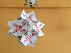 Paper Lantern DIY...NOT with business cards. Definitely use cute scarp book paper to get a cuter version of the same shape. Must do!