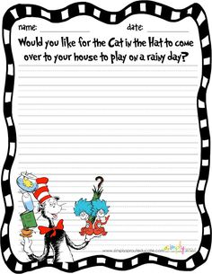 TEACHERS Celebrate Reading with The Cat in the Hat FREEBIE writing activity from simply sprout