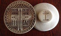 Orthodox Hand Carved Prosfora seal on wood front and back side Baptisms, Communion, Hand Carved, Concrete, I Am Awesome, Decorative Plates, Greek, Wire, Carving