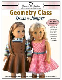 A retro-inspired dress from Forever 18 Inches.  Get it now from PixieFaire.com!  http://www.pixiefaire.com/products/geometry-class-dress-jumper-18-doll-clothes