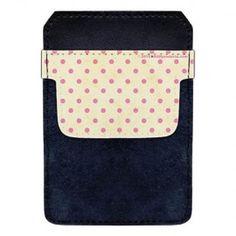 Leather Bottle Opener Pocket Protector w/ Designer Flap - Pink and Tan Polka Dots