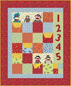 Funky Sock Monkey Quilt by Erin Michael. Free Patterns by Moda... the Cutting Table.
