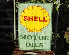 Shell Motor Oils Handmade and painted wooden sign