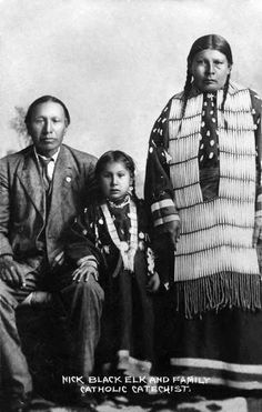 Nicholas Black Elk with Wife and Daughter, Lucy Looks Twice - Oglala c1900