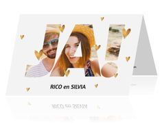 Strakke trouwkaart met gouden elementen en foto