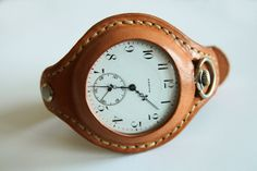 Recently apart from knife pouches and sheats Ive been making straps for pocket watches. Leather Accessories, Leather Jewelry, Leather Projects, Leather Crafts, Small Leather Goods, Beautiful Watches, Custom Leather, Leather Working, Watch Bands
