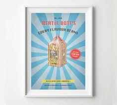 Harry Potter Vintage Poster - Bertie Bott's Every Flavour Beans Advertisement, Digital Art Print, Movie Poster, HP Poster