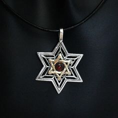 Silver with gold star of david necklace Free ship