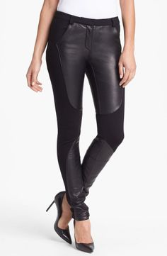 Rebecca Minkoff Telescope Knit Leather Panel Skinny Pants in Black Size 4  ONLY $149
