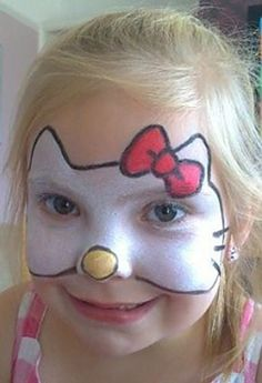 Hello Kitty face painting www. Girl Face Painting, Face Painting Designs, Painting For Kids, Body Painting, Art For Kids, Face Paintings, Looks Halloween, Halloween Face, The Face