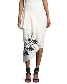 PETER PILOTTO Leaf-Embroidered High-Waist Cady Skirt, White/Black. #peterpilotto #cloth #