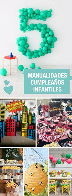 Manualidades para cumpleaños infantiles ➜ 20 ideas para decorar fiestas molonas.  #Manualidades #Cumpleaños #Fiestas #Infantiles #DIY #Ideas #Globos #Piñatas #Candy #Bar #Juegos #Handfie