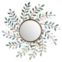 Create a glamorous focal point in your entryway or living room with this eye-catching mirror, featuring a branching design in a glimmering multicolor finish....
