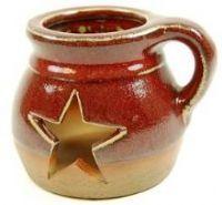 Ceramic Star Cutout Candle Holder  - 5in.L x 4-1/4in.W x 4in.H