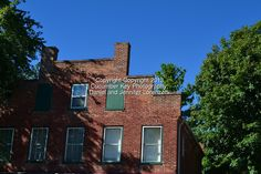 This historic brick building facade was shot against a brilliant blue Ohio sky in fall near Clifton Mill.
