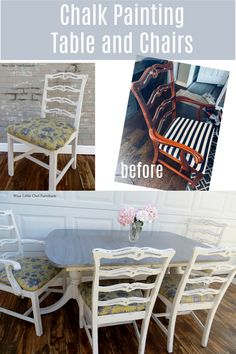 Ever thought about chalk painting your table and chairs? While it takes more of a time investment than a single piece of furniture, it is budget-friendly and super satisfying. Get all the info you need right here! #paintedfurniture #bestpaintonplanetearth #dixiebellepaint Diy Furniture Plans, Diy Furniture Projects, Paint Furniture, Furniture Makeover, Painted Farmhouse Table, Farmhouse Style Furniture, Modern Farmhouse, Do It Yourself Decorating, White Painted Furniture