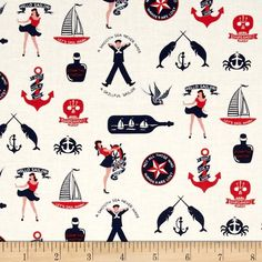 Dear Stella Hello Sailor Maritime Fun White from @fabricdotcom  Designed for Dear Stella, this nautical themed cotton print fabric is perfect for quilting, apparel and home decor accents. Colors include red, white and blue.