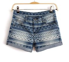 Price:$29.00 - On Sale National wind ladies embroidered cotton shorts denim hot pants