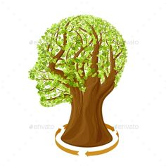 Tree with green leaves in the shape of a human head