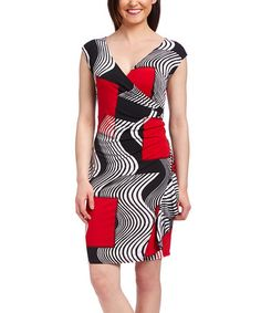 Loving this Red & Black Geometric Surplice Dress - Plus Too on #zulily! #zulilyfinds