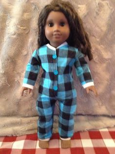 onesie plaid flannel  pyjamas for american girl doll, maplelea girl, our generation, journey girl any 18 inch doll by LittleFancyPantsClos on Etsy