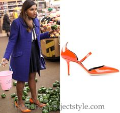 """Mindy will be wearing these orange patent pumps in """"Lahiri Family Values"""""""