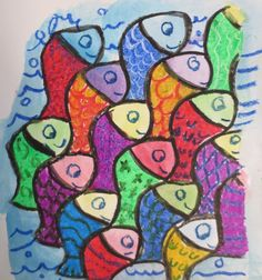 Homenaje a Escher. Actividad del libro de 3º de EP de Anaya. Es una actividad muy completa donde se trabaja el color, las texturas visuales y la observación. Los alumnos disfrutaron muchísimo. Colegio Alameda de Osuna.