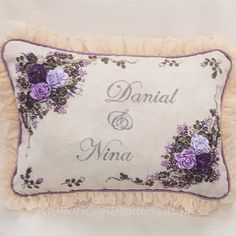 Their Wedding Gift Embroidered Cushions, Ribbon Embroidery, Cushion Covers, Wedding Gifts, Throw Pillows, Art, Ribbons, Stitches, Cushions