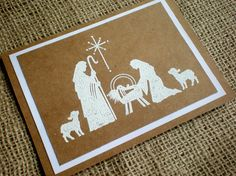 Christmas Card Set of 5 - Handmade Kraft Embossed Christmas Cards w/ Nativity Manger Scene -O Come Let Us Adore Him - Envelopes Included