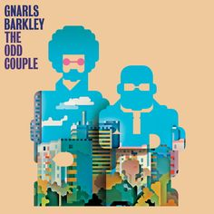 Hip hop album cover for Gnarls Barkley's album 'THE ODD COUPLE'. It shows the two members in blue silhouettes, and an animation of trees and...