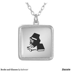 Books and Glasses Silver Plated Necklace