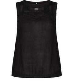 Black Embroidered Panel Sleeveless Top