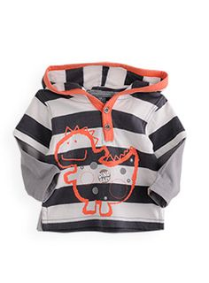 stripe double sleeve hooded top