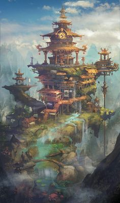 a collection of inspiration for settings, npcs, and pcs for my sci-fi and fantasy rpg games. hopefully you can find a little inspiration here, too. Fantasy City, Fantasy Places, Fantasy Kunst, Fantasy World, Fantasy Village, Fantasy Castle, Environment Concept, Environment Design, Fantasy Landscape