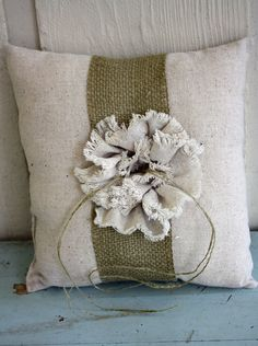 Burlap, twine, and raffia wedding  You could add this to old pillow for a new look.
