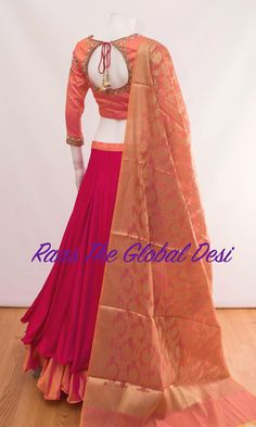 Color : pinkFabric :silk Occasion : WeddingOccasion : PartyWork : zari,handwork Silk layered chaniya with stone and zari work blouse and banarasi dupatta skirt length is 41 inches approx For any query CALL : 630 407 7419 Designer Party Wear Dresses, Indian Designer Outfits, Ethnic Outfits, Indian Outfits, Indian Clothes, Choli Designs, Blouse Designs, Choli Pattern, Frock Fashion