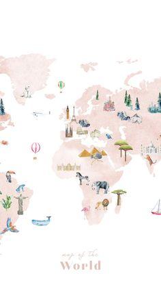 Large Wallpaper World Map  Wall Decal nursery decor nursery   Etsy