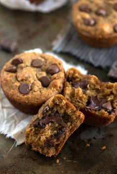 A skinny version peanut butter and banana muffin with chocolate chips. These are made with no oil, no butter, and no flour! Gluten-free, vegetarian, healthy, and delicious!