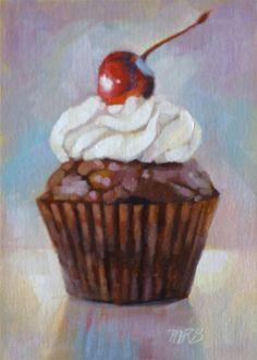 "Cupcake #1, Original Oil Painting, 7x5"""