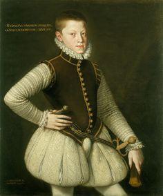 A portrait of a young Rudolf II, Emperor of Austria. by Alonso Sánchez Coello, 1567.