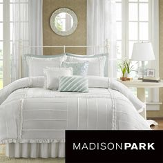 Shop for Madison Park Holly Cotton Comforter Set. Get free delivery On EVERYTHING* Overstock - Your Online Fashion Bedding Store! Shabby Chic Bedrooms, Cozy Bedroom, White Bedroom, Bedroom Decor, Bedroom Ideas, Master Bedroom, Bedroom Romantic, Bedroom Retreat, Queen Bedroom