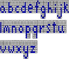 Embroidery Alphabets Bracelets Lower-case lettering chart 2 (left-to-right threading) for loom beading, courtesy of Rings Bead Loom Patterns, Beading Patterns, Embroidery Patterns, Butterfly Embroidery, Embroidery Alphabet, Learn Embroidery, Embroidery Bracelets, Bead Loom Bracelets, Tapestry Weaving