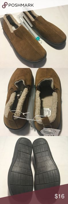 "Men's Suede Indoor Outdoor Slippers Size 10 Men's slip on moccasins style slipper. Quality walnut brown genuine suede uppers and 1"" stitched non marking rubber bottoms. Perfect to be worn inside or outside. Inside Lined with natural color sherpa fleece and padded for additional comfort. Carson Shoes Loafers & Slip-Ons"